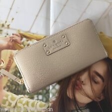 Kate Spade NY Rose Gold Leather Wellesley Neda Zip Around Continental Wallet NWT