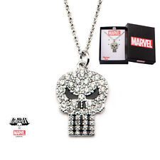 Inox Women'S Stainless Steel Punisher Skull Cubic Zirconia Gems Pendant Necklace