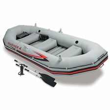 Intex Mariner 4, 4-Person Inflatable Boat Set with Aluminum Oars and High Out...