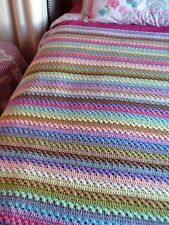 New Colourful Crochet Blanket Throw, Bedding, Handmade 4ft X 4ft approx