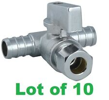 (10) Tee Brass Mini Ball Valve 3/4″ PEX x 3/4″ PEX x 3/8″ OD COMP.
