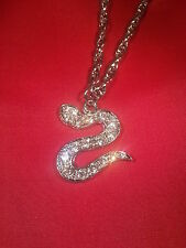 Protection Talism Amulet Silver Plated Stunning Diamonte Snake Pendant - S Shape