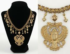 VTG 70S MIRIAM HASKELL GOLD WINGED SCARAB EGYPTIAN ETRUSCAN PENDANT NECKLACE