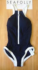 NWT Seafolly Block Party High Neck Maillot One piece Swimsuit Indigo AU 14 (J26)