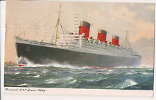 Vintage Postcard RMS Queen Mary Great Ocean Liner