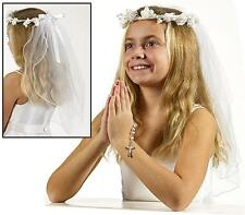 "Girls First Catholic Holy Communion Veil Crown Headpiece 26""L Gift for Daughter"