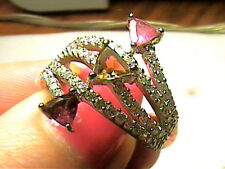 RING 8.5 NATURAL pink yellow TOURMALINE ESTATE sapphire STERLING silver 925 fanc