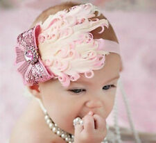 Baby Vintage Headband flower Feather Pad prop hair band Accessorie,pink