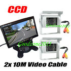 "2x 18 LED IR CCD Reversing Camera + 7"" LCD Monitor 12V Car Rear View Kit White"