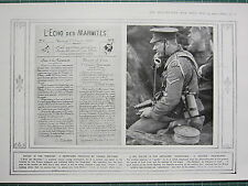 1915 WWI WW1 PRINT TRENCHES NEWSPAPER PRODUCED FRENCH SOLDIERS SPOTTER TELEPHONE