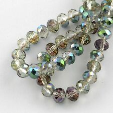 49 Electroplate Glass Beads 6mm Faceted Rondelles ~ Mixed Colour