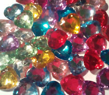 5x Large Faceted HEART Embellishment, crystal,gems, Rhinestone