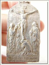 ART NOUVEAU HOLY CALVARY - CRUCIFICTION AND CHALICE MEDAL HUGE ! VISIT MY STORE!