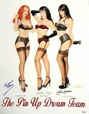 """'The Pin Up Dream Team' Giclee Featuring Claire Sinclair 17""""x22"""" Signed Lorenzo"""