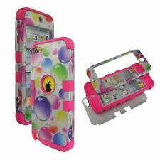 For Apple ipod Touch 5 Hybrid PinkStrip Colorful Dots Hard Soft Cover Case