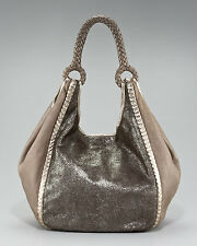 Elie Tahari Calf Hair Amelia Hobo, Bronze Leather Handbag Purse $798.00