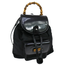 Authentic GUCCI Bamboo Backpack Bag Black Nylon Patent Leather Italy VTG JZ00730