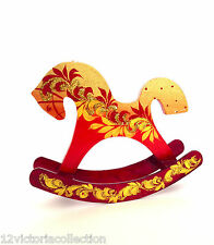 ROCKING HORSE Russian Wooden Hand Carved Hand Painted SIGNED Christmas