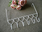 White Shabby Chic Vintage Style Metal Hearts Over Door Hanger Hooks Storage