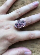 Stunning Vintage Style Rhinestone Dress Ring/Crystal Statement/Cocktail/Pink/Big
