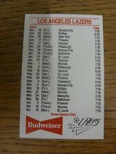 1983/1984 Fixture Card: Soccer - Los Angeles Lazers (Budweiser Single Card). Any