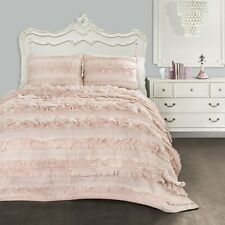 BLUSH PINK RUFFLES  Full Queen QUILT SET : COUNTRY COTTAGE RUFFLED SHABBY