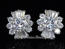 Sparkling Clear Flower CZ 925 Sterling Silver Stud Earring .925 Fine Jewelry