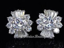 Sparkling Clear Flower CZ 925 Sterling Silver Stud Earring .925 Fine Jewelry