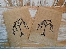"8"" x 12"" Primitive Country BURLAP BAG WILLOW TREE Design Vintage Shabby Look"