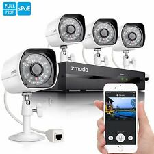 Zmodo 1080P 4Ch NVR 4 1.0MP HD IP Network PoE Video Home Security  Camera System