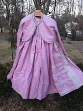 Reenactor 19Th C Victorian Civil War Spring Gown Dress Jacket Petticoat Pink New