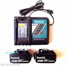 2) NEW Makita LED GAUGE BL1850B-2 18V GENUINE Batteries 5.0, (1) Charger 18 Volt