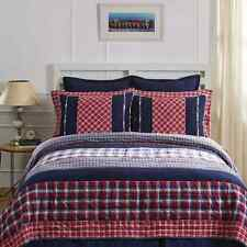 CARTER King Quilt Plaid Red/White/Blue America Patchwork Cotton Lodge Rustic