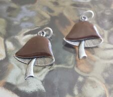 FOOD JEWELRY 2 MATCHING MUSHROOM PEWTER CHARMS ALL NEW