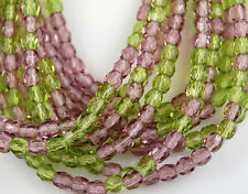 Czech Mix Amethyst Olive Round Faceted Fire Polished Glass Beads 4mm 100pcs
