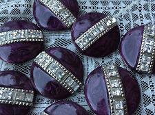 MAXI bottone gioiello ARGENTO STRASS SWAROVSKY vintage BUTTONS BOUTON