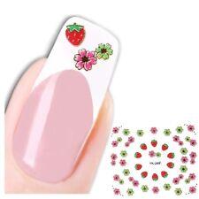 3D Nagel Sticker Blume Erdbeere Strawberry Aufkleber Nail Art New Design Flower