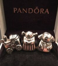 AUTHENTIC PANDORA STERLING SILVER LOT CHARMS.ANGEL OF HOPE, BABY STROLLER, GIRL