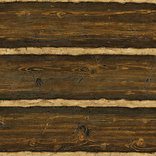 Embossed Raised Texture Log Cabin Logs Wallpaper - Brown - Double Roll   96501