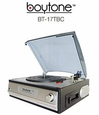 Boytone BT-17TBC Record Player Turntable Cassette Built-In Stereo Speakers NEW