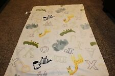 Little Miracles Baby Blanket Green Sherpa Letters Zebras, elephant, crocs Plush