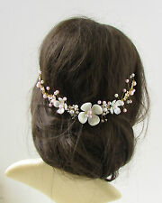 Gold White Blush Pink Leaf Pearl Bridal Hair Vine Headpiece Headband Clip 213