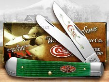 CASE XX Christmas Bright Green Jigged Bone Trapper Knives Knife