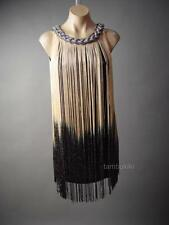 Ombre Gold Black Fringe 20s Flapper Great Gatsby Jazz Theme Party 120 ac Dress M
