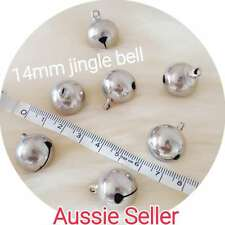 BULK 10 Large SILVER Jingle Bells DIY Charm Craft dog cat collar 14mm bell
