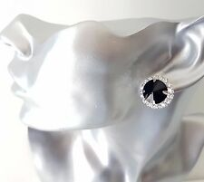 Gorgeous silver tone & black diamante round shape CLIP ON stud earrings