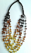 5-line beads natural Baltic amber necklace