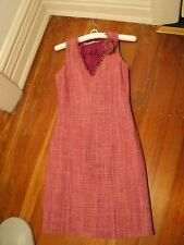basque pink   woven slub SILK pink shift dress worn once only 8