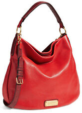 NWT MARC BY MARC JACOBS New Q Hillier Hobo Leather Shoulder Bag Rosey Red Multi
