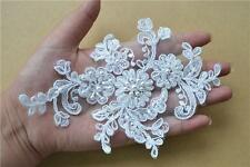 Pearl Bridal Lace Applique Wedding Lace Corded Trim Beaded Floral Motif 1 Pair